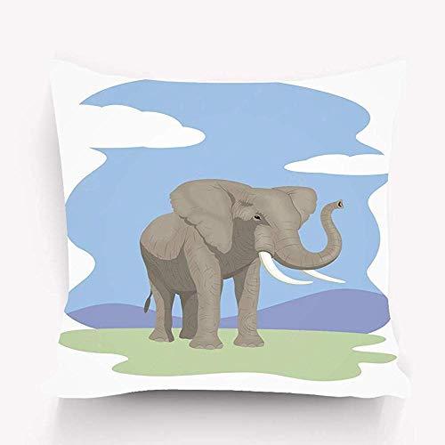 Fundas de Almohada Decorativas, Funda de Almohada Suave Funda de cojín Decoración del hogar, Elefante Fresco 45X45cm