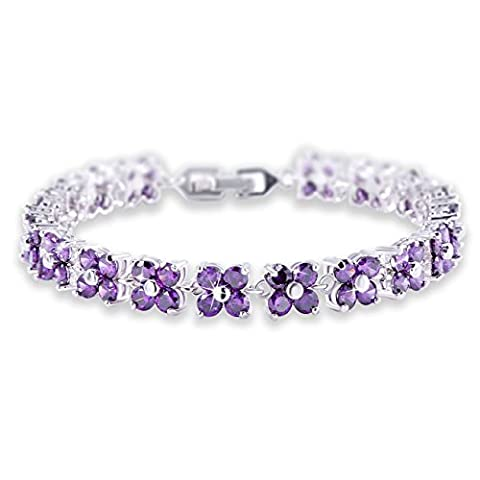 GULICX White Gold Electroplated Brass Purple Cubic Zirconia Crystal Women Tennis Bracelet for Women