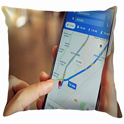 beautiful& Penang Malaysia April 6 2018 Female Business Finance Google Technology Pillow Case Throw Pillow Cover Square Cushion Cover 18X18 Inch Gps 18 X Pc