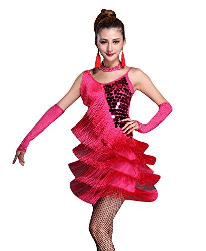 NiSeng Damen Latin Kleid Paillette Quasten Kleid Latin-Tanzkleidung Kostüme L Rose