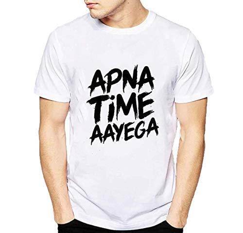 grean Polyester Round/Crew Neck Trending Men's White Printed T-Shirt: Apna time aayega