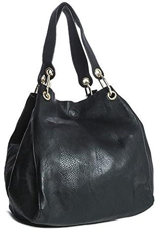 Big Handbag Shop Sac à main 2 en 1 porté épaule Seau pour femme Style Sac fourre-tout - - noir,