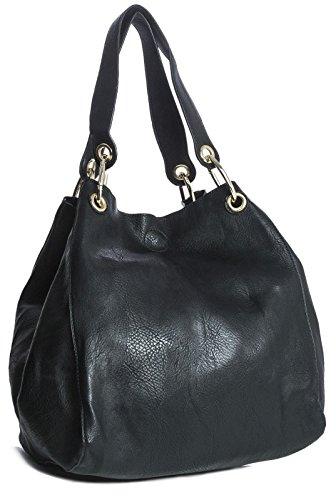 Big Handbag Shop zwei in einem Eimer, Damen Schultertasche schwarz