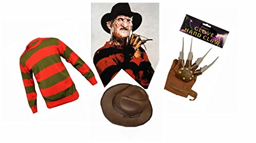 MENS FREDDY KRUEGER FREDDIE KRUGER 3 PIECE SET JUMPER SIZE MEDIUM HAT & CLAW