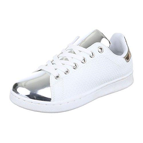 Ital-Design , chaussons d'intérieur femme Blanc/argenté