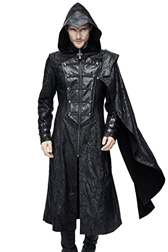 Herren Vintage Retro abnehmbar Cloak Mittelalter Gothic Krieger Outfit Templer-Ritter Umhang Cape Cosplay Kostüm M
