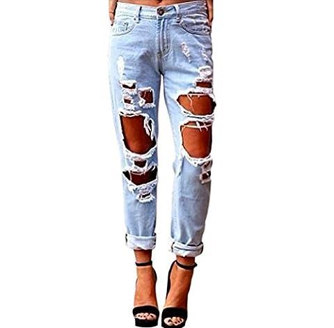 Aitos Femme Jeans Pantalon Causal Trou Délavé Déchiré Push Up