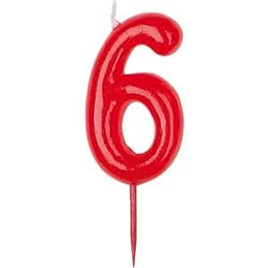 Bougie Anniversaire Rouge - Chiffre 6 - Taille Unique