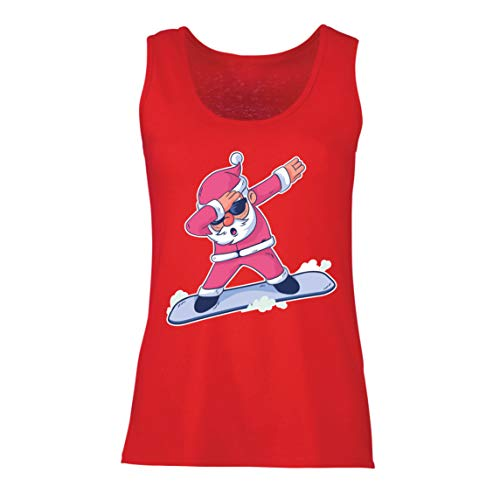 lepni.me Damen Tank-Top Weihnachten Dab, Dabbing Weihnachtsmann, Weihnachtsfeiertags-Shirt (X-Large Rot Mehrfarben)