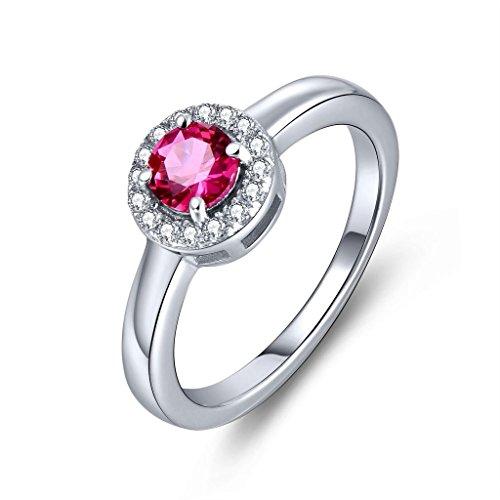 YL Jewelry Damen Ring 925 Sterlingsilber 5mm Rund erstellt Rubin Promise Ring Schmuck Sterling Silber Baby-ringe Größe 4