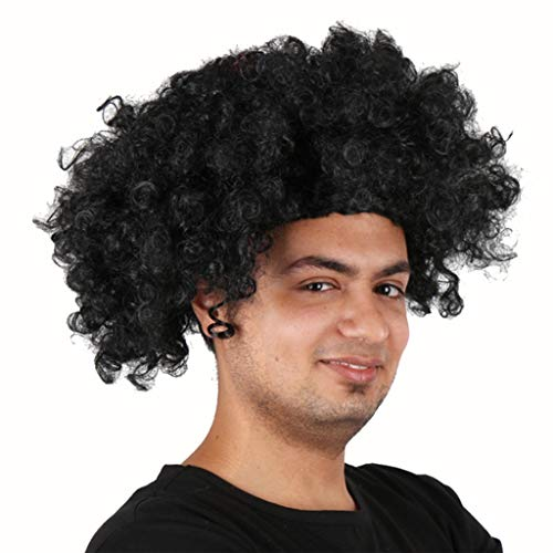 QIQI Performing Perücken Festival Perücken Schwarz Explosive Köpfe Kurze Lockige Haare Cosplay Party Hair Set