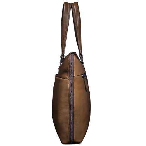 Oneworld Herren Rindleder Messenger Bag Aktentasche Schultertasche Notebooktasche Handtasche Umhängetasche Schultasche Tote Bag 38x30x7cm(BxHxT) Grau Khaki
