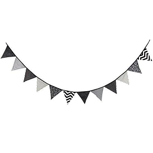 schwarz und weiß Muster Baumwolle Stoff Wimpelkette Wimpel Banner Girlande Hochzeit/baby Dusche/Outdoor Zelt Party Dekoration ()