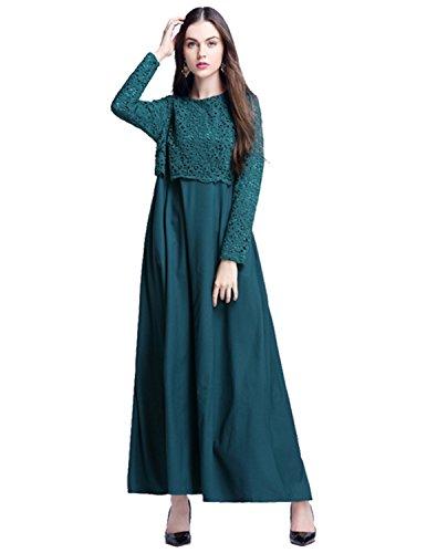 Modetrend Femmes Musulmane Long Maxi Robe Dentelle Manche Longue Dubai Islamique Abaya Muslim Robe de Soirée Cocktail Vert