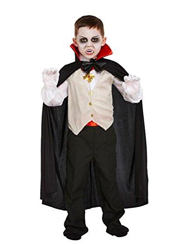 (Dracula Vampir-Kostüm für Kinder - Halloween-Kostüm - Größe M)