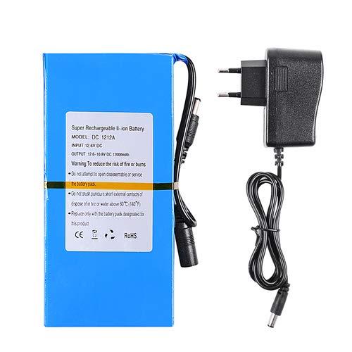 Elitlife 8000mAh Wiederaufladbare Lithium-Batterie Lithium Ionen Akku Pack 12V 2A DC Flammenhemmende Hülle Hochleistungs Akkupack mit Stecker für CCTV Modellbau Roboter