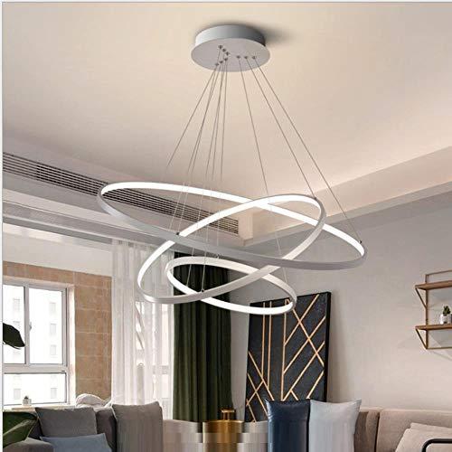Led Anhänger Kreis Licht für Wohnzimmer Esszimmer Kreis Ringe Acryl-Aluminium-Gehäuse LED-Pendelleuchte Licht Leuchte 220V, Silber Körper, 1 Ring 20cm, kühles Weiß Nein Fern -