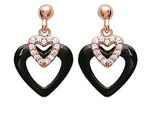 Orecchini a forma di cuore placcato oro, con zirconi e ceramica, colore: nero