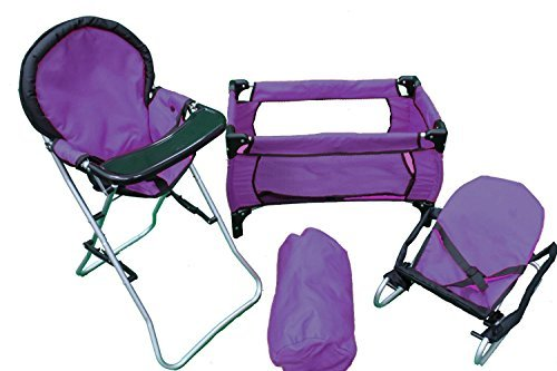 Mommy & Me 3 in 1 Doll Play Set PURPLE , 1 Doll Pack N Play. 2 Doll Bouncer 3.Doll High Chair. Fits 18'' Doll by Mommy & Me Doll Collection