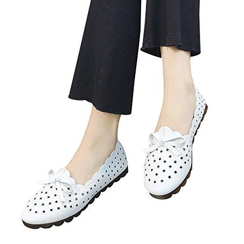 ◑‿◑JUSTSELL Schuhe für Damen,Frauen Mode-Design Aushöhlen Flacher Weicher Boden im Freienfreizeit Einzelne Schuh Bogenknoten Peas Bootsschuhe