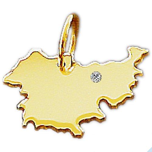 Thüringen Anhänger mit Brillant - massiv 585 Gold