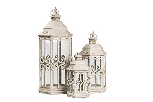 Tris de trois lanternes en fer blanc