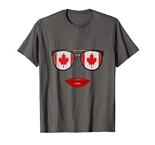 Kanadische Flaggen-Sonnenbrille-Lippen Fräulein Canada T-Shirt