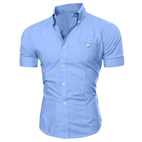 Btruely Hemden Herren Sommer Männer Shirt O-Neck Drucken Top Slim Fit Geschäft Bluse Junge Kurzarm Shirt (M, Licht Blau) (Sleeve Drucken Short Neck)