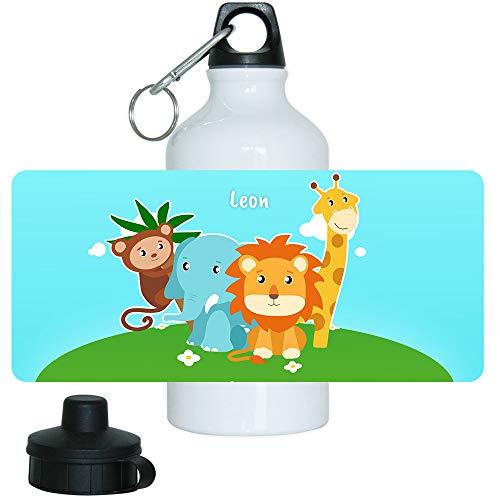 Trinkflasche mit Namen Leon und Tier-Motiv mit AFFE, Elefant, Löwe und Giraffe für Jungen | Motiv-Trinkflasche | Kinder-Aluflasche