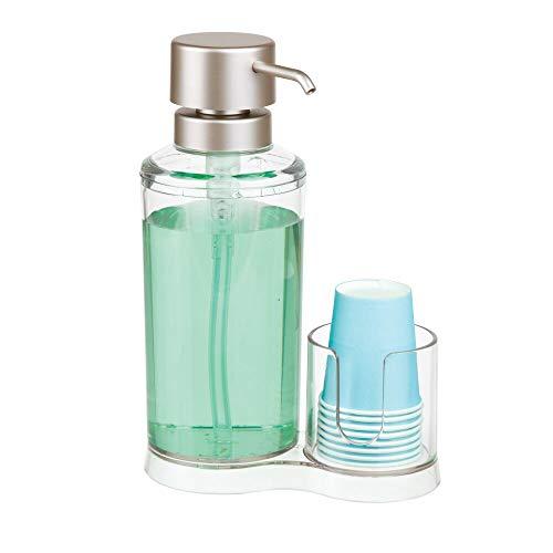 mDesign Dispensador de Enjuague bucal con portavasos - Expendedor de plástico para Enjuague con 8 Vasos pequeños - Prácticos Accesorios para baño para la higiene Oral - Transparente y Plateado Mate