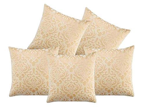 Czar Home Velvet Cream Beige Cushion Covers 16x16 Set of 5