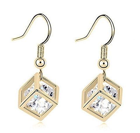 Acheter 2 et obtenir 1 gratuit! Collier avec pendentif cube Or et Argent diamant pour femme