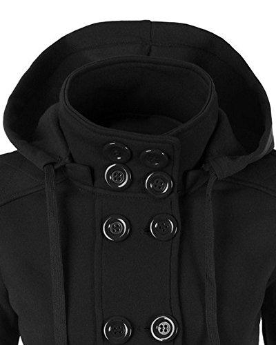 Damen Mantel Zweireiher Lange Ärmel Winter Fleece Jacke mit Kapuze Schwarz