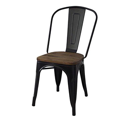Decoración Vintage Lumber - Silla de hierro con asiento de madera, estilo Tolix, 42 x 45 x 85 cm, color negro
