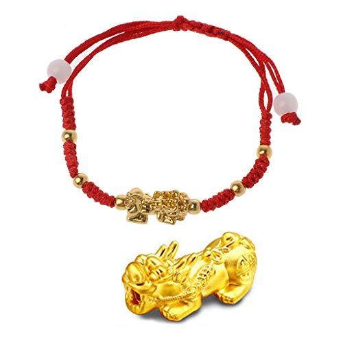 VIccoo Chinesische Feng Shui Gold Pi Xiu Kabbalah Rote Schnur Armband Evil Eye Protection (Chinesische Rote Schnur Armband)
