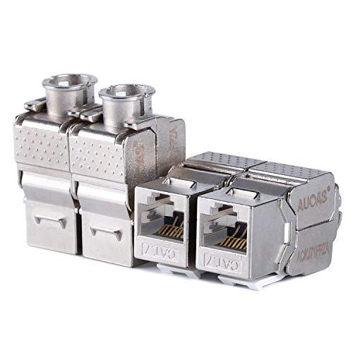 Keystone Modular Wall Plate (CAT7 RJ45 FTP ohne Werkzeug Typ Zink Legierung Modul geschirmt Keystone Jack Adapter 10 Gigabit Modular Jack (5 pcs/pack))