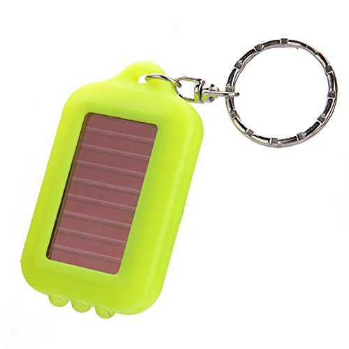 ONEVER 9 couleurs Mini camping lumi¨¨re solaire rechargeable Portable Power 3 LED solaire Lampe LED lampe torche porte-cl¨¦s Anneau Porte--Green