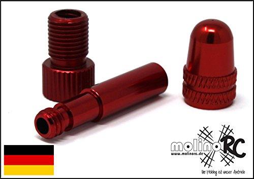 Rad MEGA Set aus BRD | 3er Set rot je 1x Ventiladapter + Ventildeckel + Verlängerung | Fahrrad Adapter ** BRD ** von Fahrradventil ( Sclaverandventil oder Dunlopventil ) auf KFZ | Autoventil ( Schraderventil ) inkl. Dichtring | Blitzversand aus Deutschland von molinoRC *** Ventil***