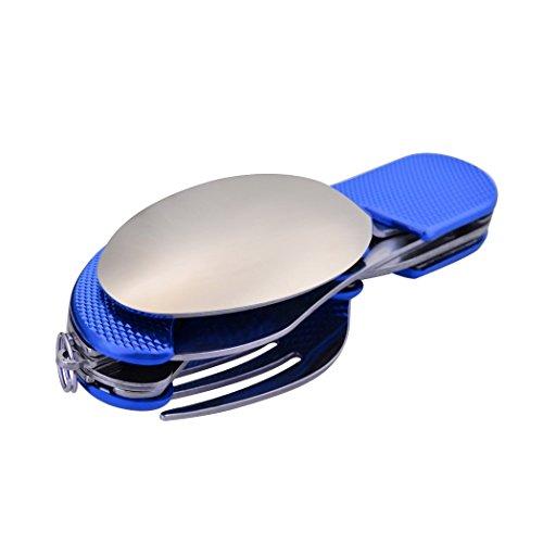 Leeko Freizeit Outdoor Besteckset Löffel Gabel Messer Flaschenöffner Multifunktionwerkzeug (Blau)
