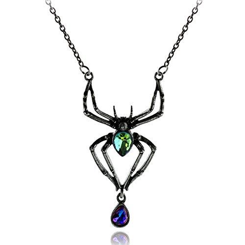 (DTOWER Spinne Mode Halskette Pin Brosche Kreative Frauen Schmuck Zubehör Halloween Party Geschenk für Frauen, Schwarz 6,2 * 3,2 cm)