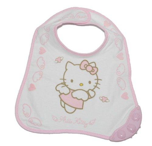1 Stk. Babylätzchen / Lätzchen mit Beißring - Hello Kitty aus weichem Frottee rosa pink Katze Klett