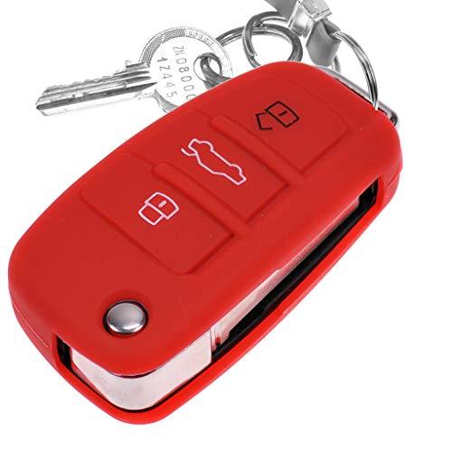 Auto Schlüssel Hülle Silikon Schutz Cover Rot für Audi A1 8X A3 8P 8V A4 B7 A6 C6 TT 8J Q3 8U Q7 4L