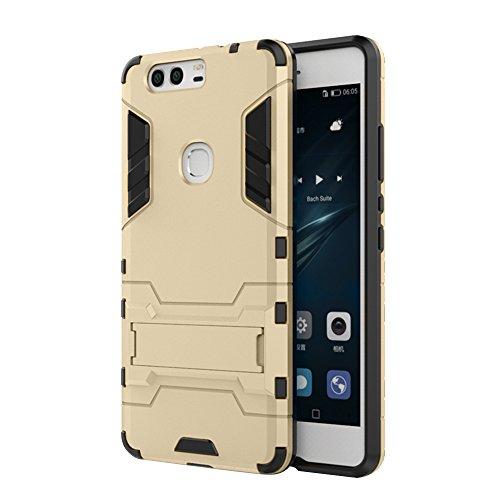 Forepin® Stoßfest Handyhülle Schutz Hülle für Huawei P9 plus 5.5 Zoll Dual-Layer Weich TPU + PC Harte Rück Bumper Case Cover mit Kickstand Hybrid Panzer Amor Etui Tasche (Heavy Duty Schutz) - Gold