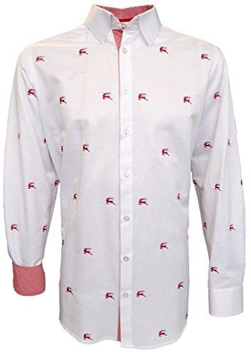 Slim Fit Trachtenhemd für Lederhosen mit roter Stickerei weiß, Hemdgröße:3XL