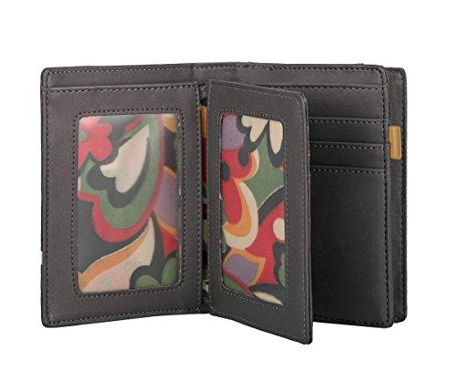 Fiori disegno RFID borsa del portafoglio MENKAI 772C2 Viola Nero Grey