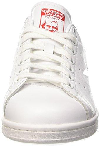 adidas Stan Smith, Baskets Basses Femme Blanc (Ftwr White/Ftwr White/Collegiate Red)
