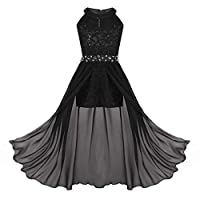 YiZYiF Big Girls Halter Sequin Lace Floral Long Romper Dress Birthday Party Wedding Dance Prom Maxi Gown Black 13-14 Years