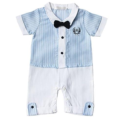 TiaoBug Baby Boys Romper One-Piece Gentleman Bowtie Bodysuit Outfits Suit