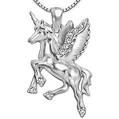 Idea Regalo - CLEVER SCHMUCK-SET ciondolo a forma di unicorno 23mm su entrambi i lati a forma di lucido con molti zirconi e catena Venezia 45cm in argento 925lucido con custodia