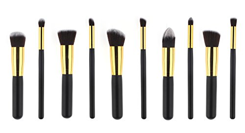 AKAAYUKO 10pcs Makeup Brush set Cosmétique Fondation Beauté Maquillage -Black & Gold